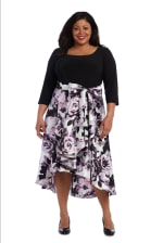 One Piece Duchess Twill High-Low Short Dress -Plus - Black / Orchid  - Back