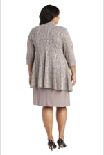 Two-Piece Metallic Knit Jacket Dress -Plus - Champagne - Back