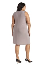 Two-Piece Metallic Knit Jacket Dress -Plus - 4