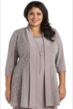 Two-Piece Metallic Knit Jacket Dress -Plus - 5