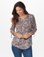 Dressbarn Paisley Pintuck Woven Popover - Black - Front