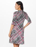 Plaid Split Cowl Dress - Black - Back