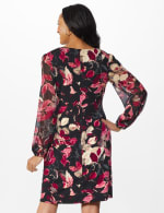 Long Sleeve Rosewood Leaf Printed Sheath Dress - Rosewood - Back