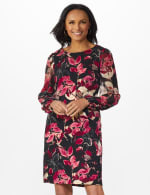 Long Sleeve Printed Sheath Dress - Rosewood - Front