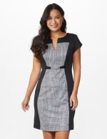 Houndstooth Sheath Dress - Black - Front