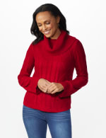 Westport Novelty Sleeve Curved Hem Sweater - Delicious Apple - Front