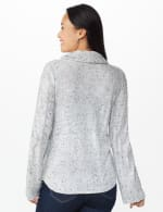 Westport Novelty Sleeve Curved Hem Sweater - Pale Grey - Back
