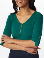 Roz & Ali Zip Front Knit Top - 4