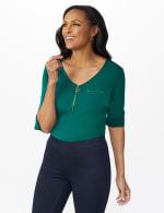 Roz & Ali Zip Front Knit Top - 7