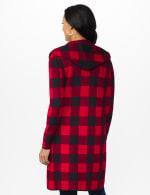 Roz & Ali Buffalo Plaid Sweater Coat - Red/Black - Back