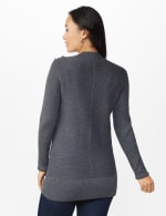 Roz & Ali Ottoman Mock Neck Hi-Lo Pullover Sweater - Charcoal Heather - Back
