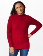 Roz & Ali Ottoman Mock Neck Hi-Lo Pullover Sweater - 12