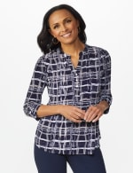 Roz & Ali Plaid Pintuck Knit Popover - Navy - Front