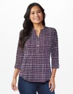 Roz & Ali Plaid Pintuck Knit Popover - NAVY-RED - Front