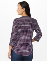 Roz & Ali Plaid Pintuck Knit Popover - NAVY-RED - Back