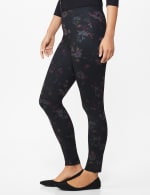 Ponte Floral Print Pull on Legging with Interior Elastic Waistband - 3