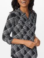 Roz & Ali Bias Pintuck Knit Plaid Popover - 5