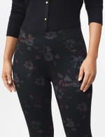 Ponte Floral Print Pull on Legging with Interior Elastic Waistband - 4