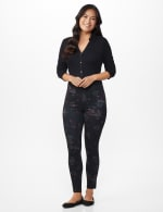 Ponte Floral Print Pull on Legging with Interior Elastic Waistband - 5