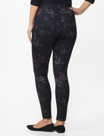Ponte Floral Print Pull on Legging with Interior Elastic Waistband - 2