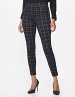 Ponte Pattern Pull on Slim Legging - Grey Plaid - Front