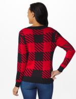 Roz & Ali Buffalo Plaid Pullover Sweater - Black/ Belldini Red - Back