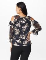 Roz & Ali Gold Floral Cold Shoulder Blouse - Misses - Black - Back