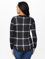Roz & Ali Button Plaid Curved Hem Pullover Sweater - Black/White/Silver - Back