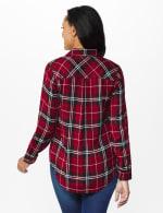 Red Rayon Plaid Long Sleeve Roll Tab Shirt - Red - Back