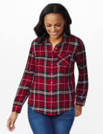 Red Rayon Plaid Long Sleeve Roll Tab Shirt - Red - Front