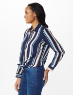 Westport Rayon Stripe Button Front Shirt - 4