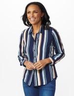 Westport Rayon Stripe Button Front Shirt - 6