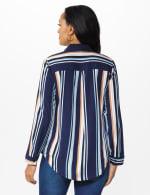 Westport Rayon Stripe Button Front Shirt - Blue - Back
