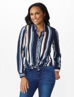 Westport Rayon Stripe Button Front Shirt - Blue - Front