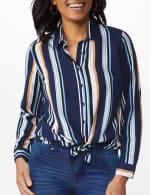 Westport Rayon Stripe Button Front Shirt - 5