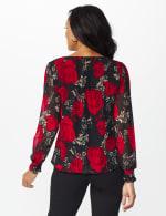 Roz & Ali Floral Bubble Hem Blouse - Black/Red - Back