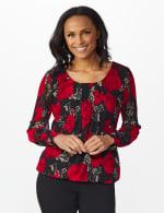 Roz & Ali Floral Bubble Hem Blouse - Black/Red - Front