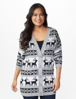 Westport Fair Isle Reindeer Duster Cardigan - Grey/White/Black - Front
