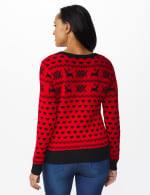 Westport Fair Isle Pullover Sweater - Red/Black - Back