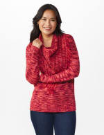 Westport Detachable Scarf Neck Pullover Sweater - Red Multi - Front