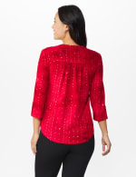 Roz & Ali Tie Dye Sequin Pintuck Popover - Petite - Fireside Red - Back