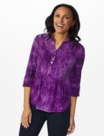 Purple Sequin Tie Dye Pintuck Popover - Petite - Grape Jelly - Front