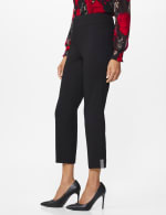 Roz & Ali Superstretch Pull On Ankle Pant with Crystal Heat Seal Trim - Black - Front