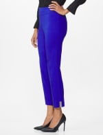Roz & Ali Superstretch Pull On Ankle Pant with Crystal Heat Seal Trim - Blue Sapphire - Front