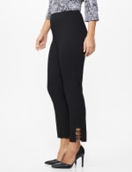 Roz & Ali Superstretch Pull On Ankle Pants with Rhinestone Ring Detail - Black - Front