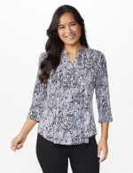 Roz & Ali Paisley Puff Print Popover - Black/Grey/Pink - Front