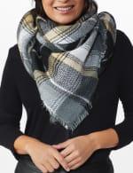 "Cozy Neutral Plaid Blanket Scarf "" Can Be Worn Six Ways"" - 4"