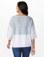 Colorblock Eyelash Pullover Sweater - Grey Combo - Back