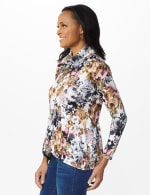 Floral Sweater Knit Cowl Neck Top - 3