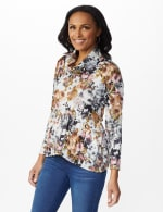 Floral Sweater Knit Cowl Neck Top - 6